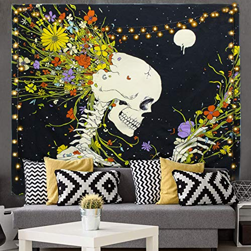 Kuchisity Skull Tapestry Meditation Skeleton Wall Hanging Tapestry, Starry Tapestry, Room Decor Art Print Fabric For Living Room Bedroom, Include 2 Fairy String Lights (Yellow, 130 x 150cm)