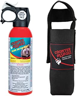 Counter Assault - EPA Certified, Maximum Strength & Distance Bear Repellent Spray - Hottest Formula Allowed by Law - Night Glow Locator & Tactical Belt Holster Included