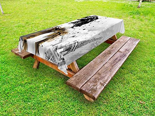 ABAKUHAUS Moderne Nappe Extérieure, Mannequin Paris Fille, Nappe de Table de Pique-Nique Lavable et Décorative, 145 cm x 210 cm, Gris Blanc