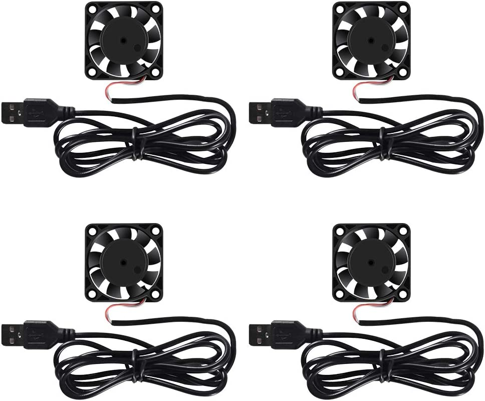 4 Pack USB Brushless Cooling Fan 40mm Fan High Performance DC 5V Cooling Fan Speed 4200 RPM Fan for Small Appliances Series Replacement