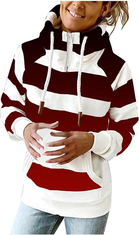 COMVALUE Hoodies for Women,Women Casual Zipper Long Sleeve Gradient Striped Pocket Lightweight Pullover Sweatshirts