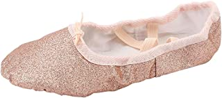 missfiona Womens Glitter Performance Ballet Slippers Ballroom Dance Flat Shoes