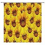 N\A Sunflower Decor Collection, Sonnenblumenblütenstrauß Blühende Blumenbotanik Morgen Lebendiges Farbbild, Duschvorhang aus Polyestergewebe mit Haken, Grüngelb.