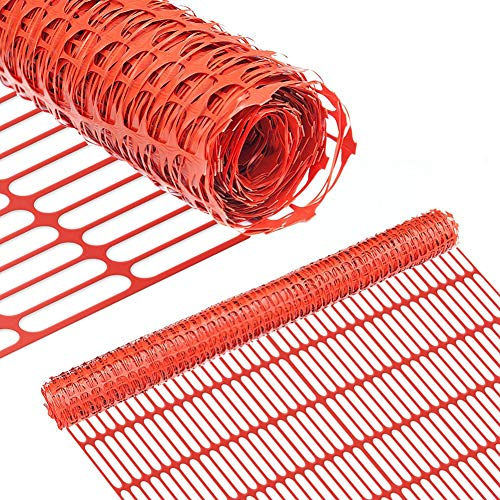 "Abba Patio Snow Fence 4' X 100' Feet Plastic Safety Garden Fence Roll Temporary Poultry Fencing Mesh Economy Construction Fencing for Pet, Rabbits, Chicken, Poultry, Dogs, Orange, 1.25"" Mesh"