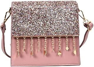 Fashion Sequined Tassel Pendant Banquet Single Shoulder Crossbody Envelope Bag (Pink) Girls Handbag