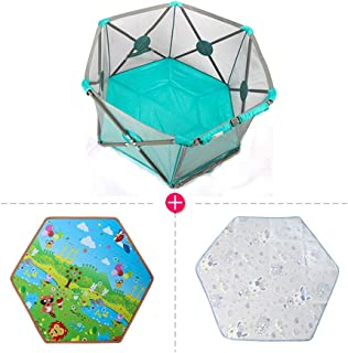 Playpen Extra Tall 75cm Baby  Indoor Baby and Toddler Play Yard Safety Game Play Pen with Mat  Door and Carry Case  Color Pink  Size 140x72x75cm