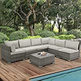 U-MAX 7 Piece Outdoor Patio Furniture Set, Gray PE Rattan Wicker Sofa Set, Outdoor Sectional Furniture Chair Set with Gray Cushions and Tea Table, Gray