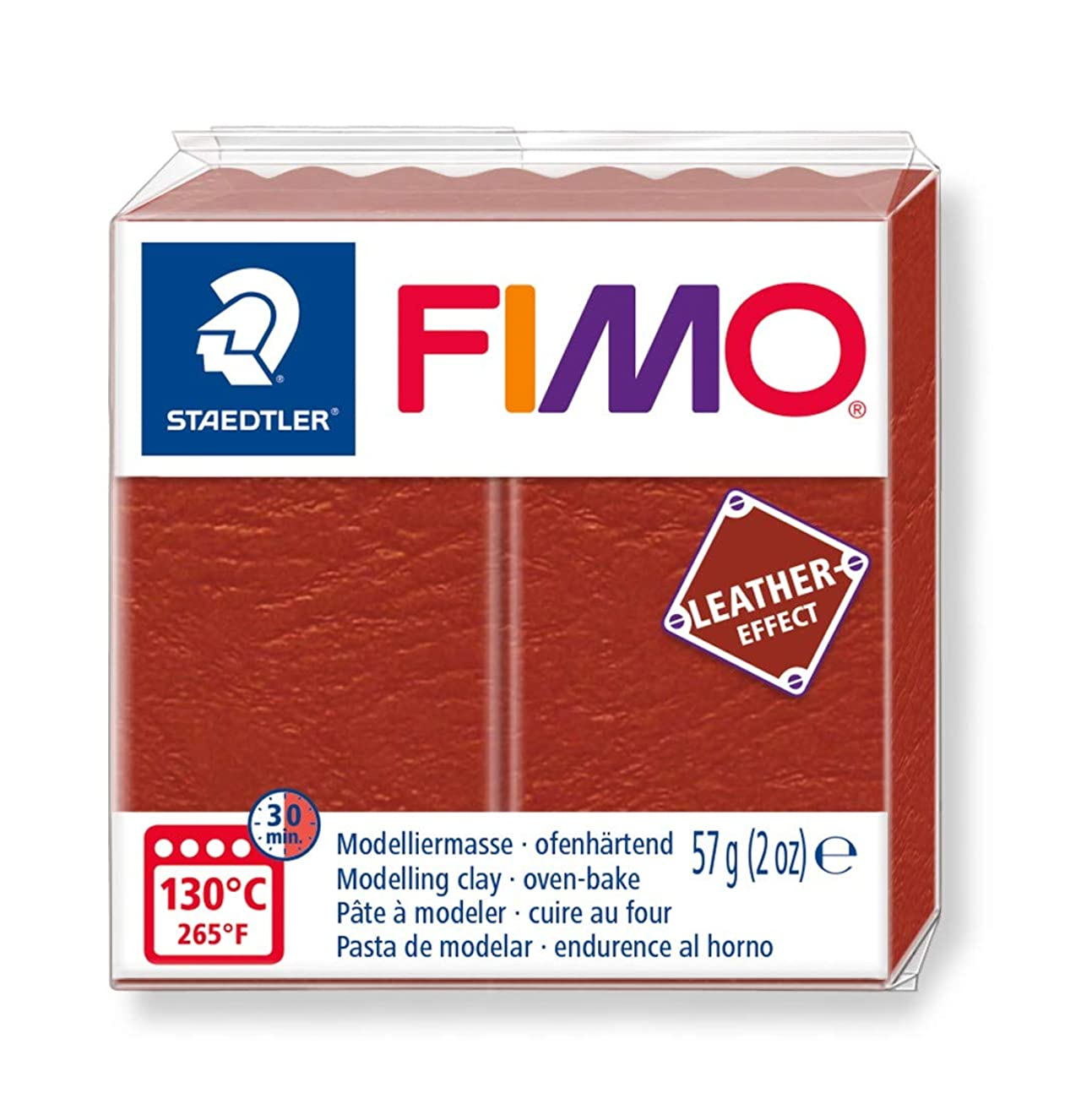 STAEDTLER ST FIMO Leather-Effect Oven-Hardening Modelling Clay for Creative Objects Leather Look Leather-Like Look and Feel Rust Colour 8010-749 cmwyynyspg5339