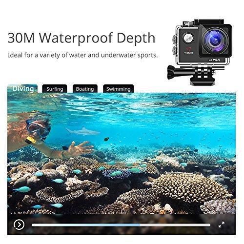 Victure Action Cam 4K WiFi Kamera Unterwasser Kamera 16MP Ultra HD Sport Camera Helmkamera Wasserdicht für Motorrad Fahrrad Reiten mit 2 Verbesserten Batterien und Kostenlose Zubehör Kits