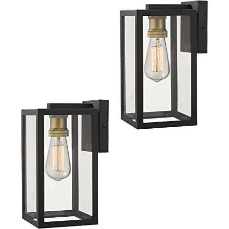 Amazon Com Zeyu Outdoor Porch Lights Wall Mount 1 Light Exterior Wall Mount Light Fixtures In Black And Gold Finish With Clear Glass 02a151bk Home Improvement