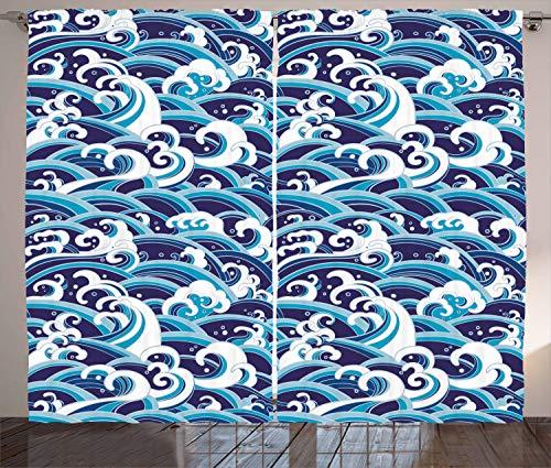 ABAKUHAUS Ola Japonesa Cortinas, Agua Splash Espuma, Sala de Estar Dormitorio Cortinas Ventana Set de Dos Paños, 280 x 175 cm, Azul pálido Azul Marino
