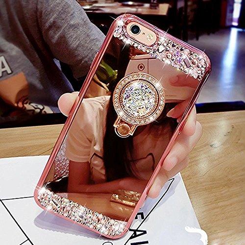 Etsue iPhone 6 Plus / 6S Plus Coque en Siliocone Diamant Mode Luxe Miroir Bling Glitter Crystal Scintiller Coque avec Bague Coque Rose Romantique Élégant Ultra Mince Bumper iPhone 6 Plus/6S Plus