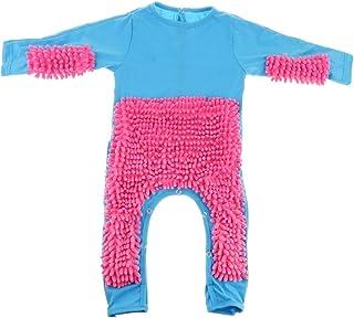 KKAAMYND KKAAMYND Baby Mop Strampler Neugeborene Kleidung Krabbeln Jumpsuit Säuglingsreinigung Mop Anzug Reinigen Mop Anzug Baby Bodysuit, blau und rosarot 80 cm, Baby kann beim Krabbeln den Boden fegen un