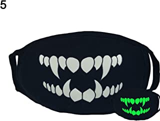Shuohu Green Night Mask Personality, Fashion Unisex Cosplay Party Outdoor Cool Luminous Anti Dust Cotton Mouth Mask Fangs