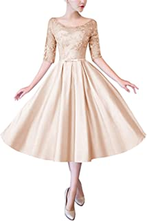 ae95eb4a4867 Scarisee Womens Half Sleeves Tea-Length Cocktail Mothers Party Dresses  LaceSA159