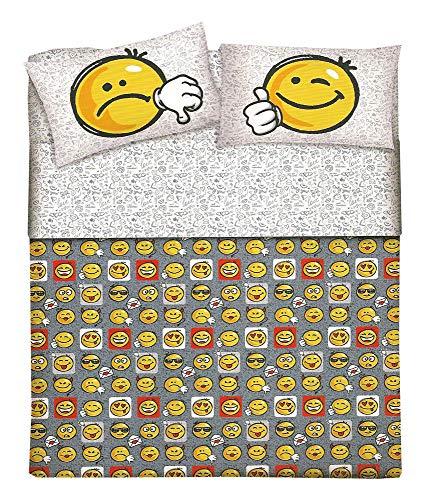 Housse de couette pour lit une place avec smiley sympathique, idée cadeau, produit italien