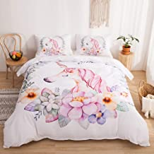 Merryword Princess Unicorn Bedding Pink Flowers Floral Duvet Cover Set Flowers Unicorn Printed White Bedding Sets Queen 1 Duvet Cover 2 Pillowcases (Queen, Unicorn 5)