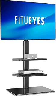 FITUEYES TV Stand with Mount for 32 to 60 inch Flat Curved Screen Height Adjustable 60° Swivel Bracket 3 Shelves with Cabl...