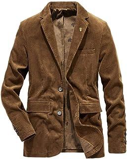 HOOUDO Men Blazer,Autumn Winter Casual VintageV Neck Button Plus Size Corduroy Warm Thicken Turn Down Collar Tuxedo Jacke...