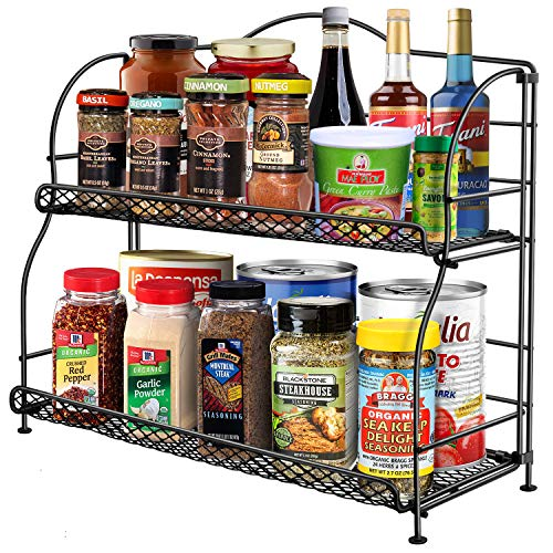 Spice Rack Organizer for Cabinet, 2-Tier Spice Racks for Kitchen Countertops, Foldable Metal Spice Holder Standing Shelf Storage With Guardrail and Mesh Design, Empty Rack for Bathroom Office, Hodekt