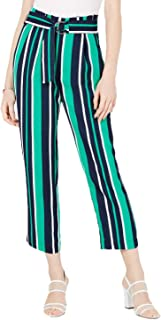 Maison Jules Womens Paperbag Waist High Rise Cropped Pants