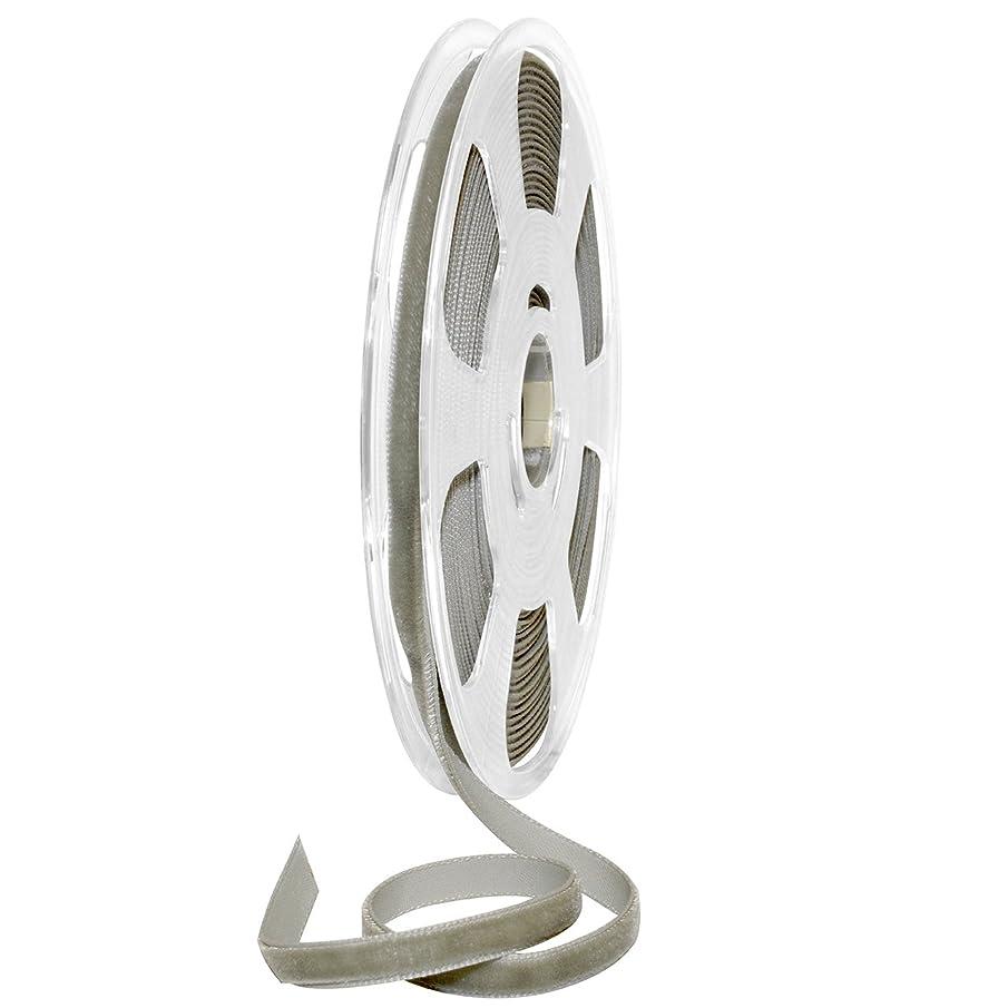 Morex Ribbon Nylon, 5/16 inch by 11 Yards, Grey, Item 01207/10-433 Nylvalour Velvet Ribbon, 5/16