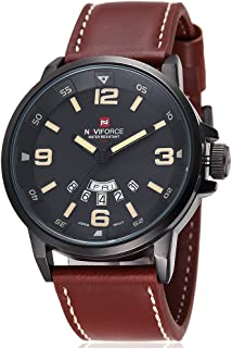 Naviforce Men's Black Dial Leather Band Watch - NF9028