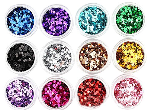 12 Colors 2mm BlingBling Circle Shapes For Nail Art Decoration, Muliticolor