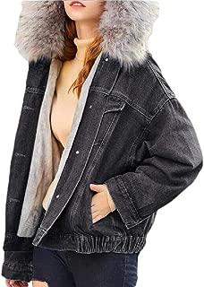 Womens Jeans Jacket Denim Coat Short Fur Hooded Warm Lined Puffer Plush Coat Parka Outwear