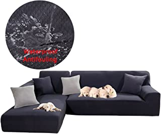Taiyucover Waterproof L-Shaped Sofa Slipcover;Anti-wrinkle L Shape Corner Queen Seat Sofa Protectors;Anti-mite Anti-Crease Jacquard Sectional Sofa Cover (Grey, L-Shaped(Large 3 Seater+Large 3 Seater))