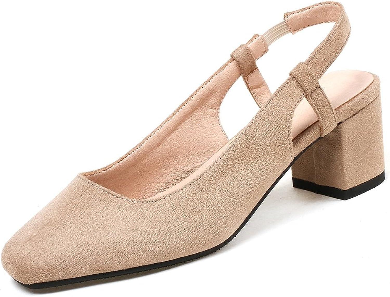 DecoStain Women's Sweet Suqare Toe Slingbacks Slip-on Mid Chunky Heels Daily School Pumps shoes