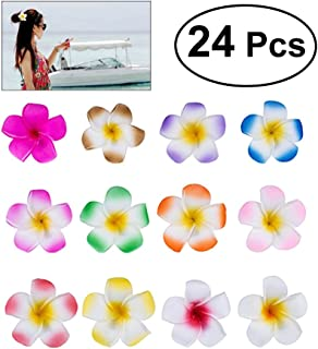Frcolor 24pcs 2.4 Inch Plumeria Hair Clip Hawaiian Flower Hair Accessories for Girls Bridal Wedding Party Beach Vacation Outfit (12 Colors)