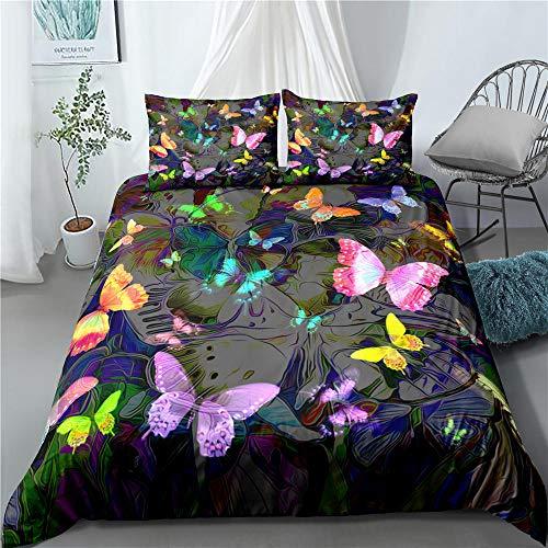 Prinbag Color butterfly graffiti duvet cover 3-piece fiber bedding 135x200cm + 50x75cm * 1