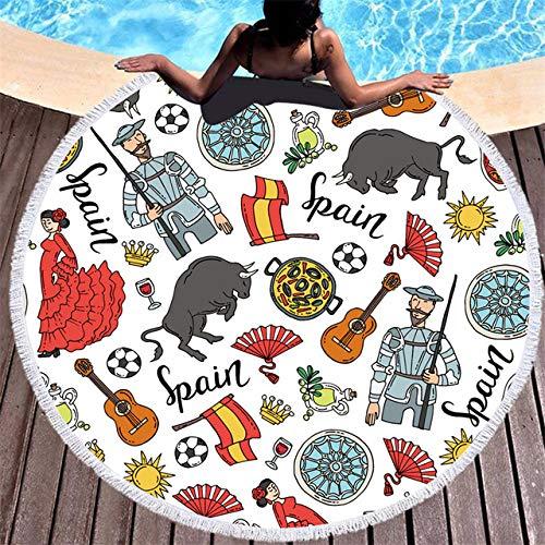 BSSDG Toalla Playa Baile taurino español Toallas de Playa Redondas Borla Fútbol Cocina Toalla de baño Natación Picnic Secado rápido, 2,150x150cm