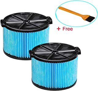 VideoPUP VF3500 Replacement Vacuum Cleaner 3-Layer Wet Dry Vacuum Filters Vacuum Cartridge Filter Compatible with 3-4.5 Gallon HEPA Media Filter with 1PC Brush for Free (2 Pack)