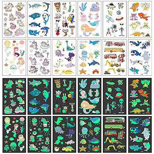 Tatuaggi per Bambini, 40 Fogli Luminosi Tatuaggio Finti Set de Creature Marine, Alieni, Unicorni, Dinosauri, Automobili Simpatici Animali, Regalo Bambini Halloween di Compleanno Ragazzo Ragazza