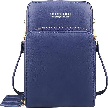 Handytasche Zum Umhängen Frauen Kleine Handy Crossbody Geldbörse Brieftasche Mini Leichte Leder Cross Body Handytasche mit Gurt Kartenfächer(Blau)