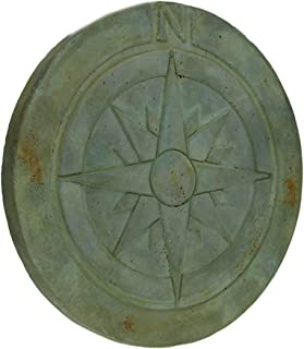 Zeckos Compass Rose Symbol Green Verdigris Finish Round Cement Step Stone 10 Inch