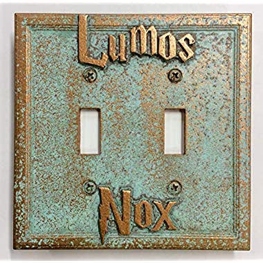 Lumos/Nox (Harry Potter) Double Light Switch Cover (Patina)