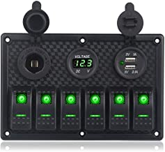 WATERWICH Marine Boat Car 6 Gang ON-Off Ignition Toggle Rocker Switch Panel with Fuse Box LED Digital Voltmeter 3.1A Dual USB Charger Cigarette Lighter Socket For RV Vehicle Truck Yacht (6 Gang Green)