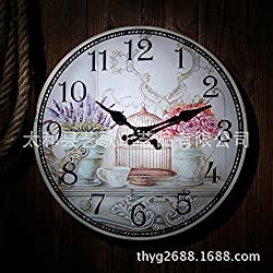 VariousWallClock Wall clock household pendulum clocks Living room table distressed craft mute clock bedroom dining room living room hanging red