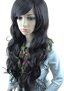 MelodySusie Black Long Curly Wavy Wig for Women, 31 Inches Hair Replacement Wig with Inclined Bangs Synthetic Fiber Wigs Cosplay Daily Party Wig with Free Wig Cap, Black
