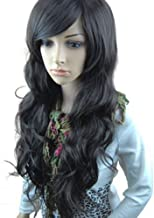 MelodySusie Black Long Curly Wavy Wig for Women, 31 Inches Hair Replacement Wig with Inclined Bangs Synthetic Fiber Wigs Cosplay Halloween Party Wig with Free Wig Cap, Black