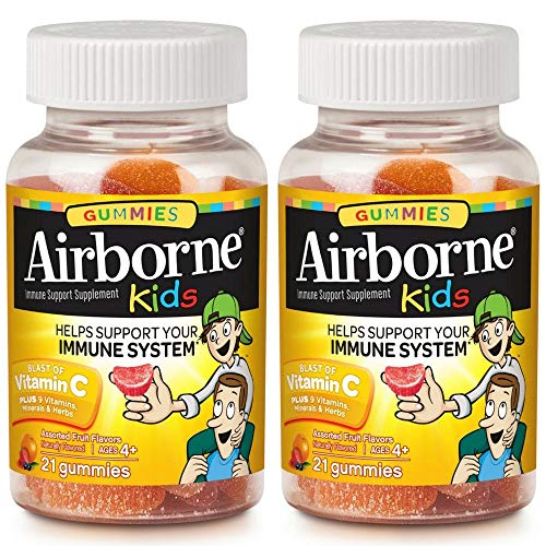 Airborne Kids Assorted Fruit Flavored Gummies, 21 count - 500mg of Vitamin C and Minerals & Herbs Immune Support (Packaging May Vary) ( Pack of 2)