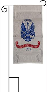 ALBATROS 12 in x 18 in Embroidered U.S. Army White Sleeved with Garden Stand Flag for Home and Parades, Official Party, All Weather Indoors Outdoors