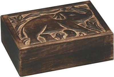 Fair Trade Handmade Mango Wood Elephant Trinket Jewellery Box Wooden