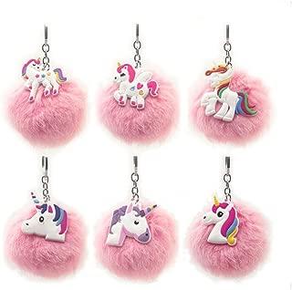 6Packs Rainbow Unicorn Keychain, Pink Pom Pom Key ring Soft Faux Fur Ball Bag Pendant Decoration Unicorn Party Favors Supplies (Unicorn)