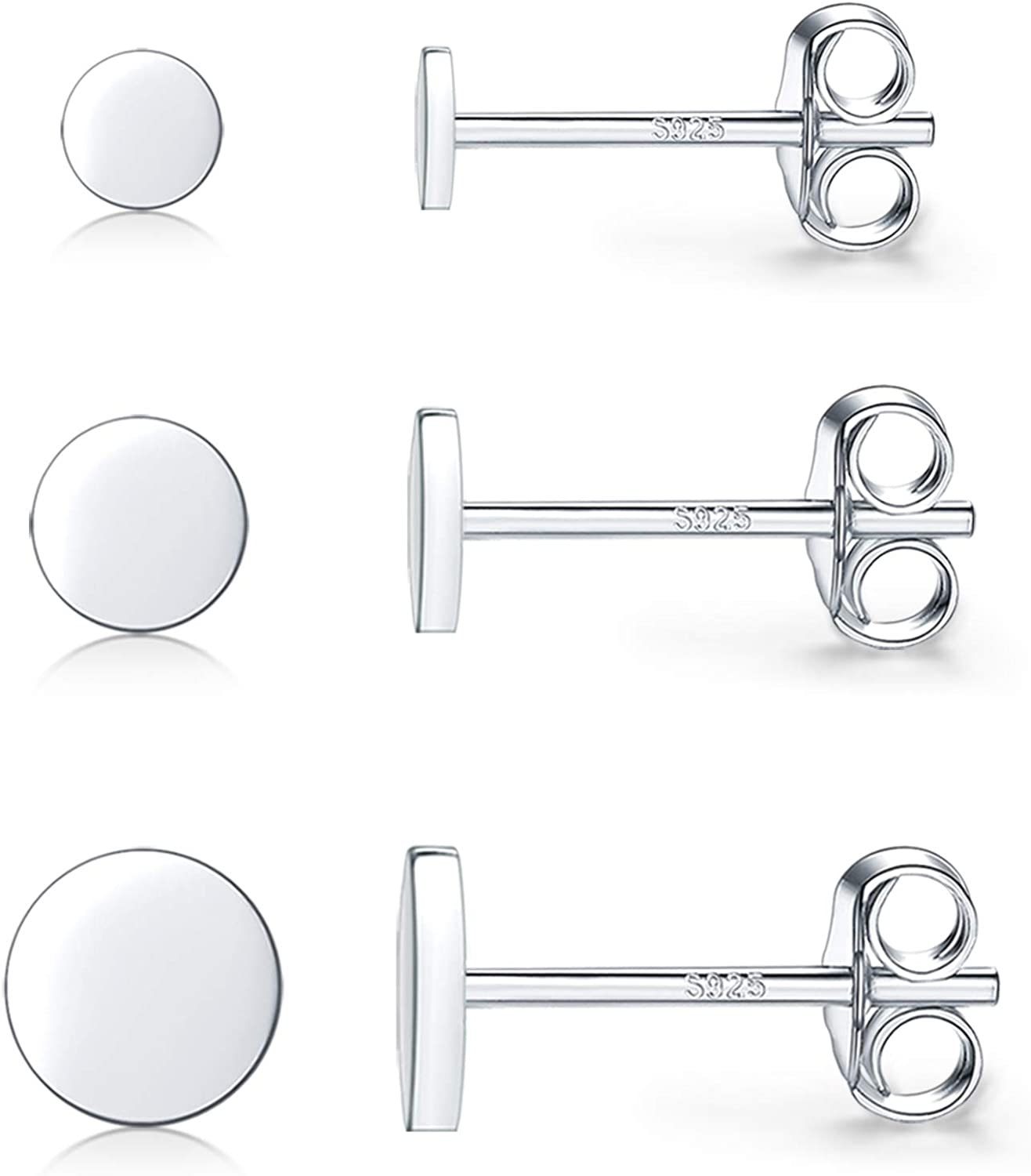 925 Sterling Silver Dot 70% OFF Outlet Stud Earrings Rou Small Simple ! Super beauty product restock quality top! 3 Pairs