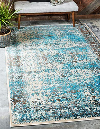 Unique Loom Imperial Collection Modern Traditional Vintage Distressed Ivory/Turquoise Area Rug (9' 0 x 12' 0)