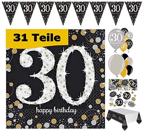 Feste Feiern Geburtstagsdeko 30. Geburtstag 31 Teile Deko-Set Luftballon Wimpel Girlande Konfetti Serviette Tischdecke Gold Schwarz Silber metallic Party-Set